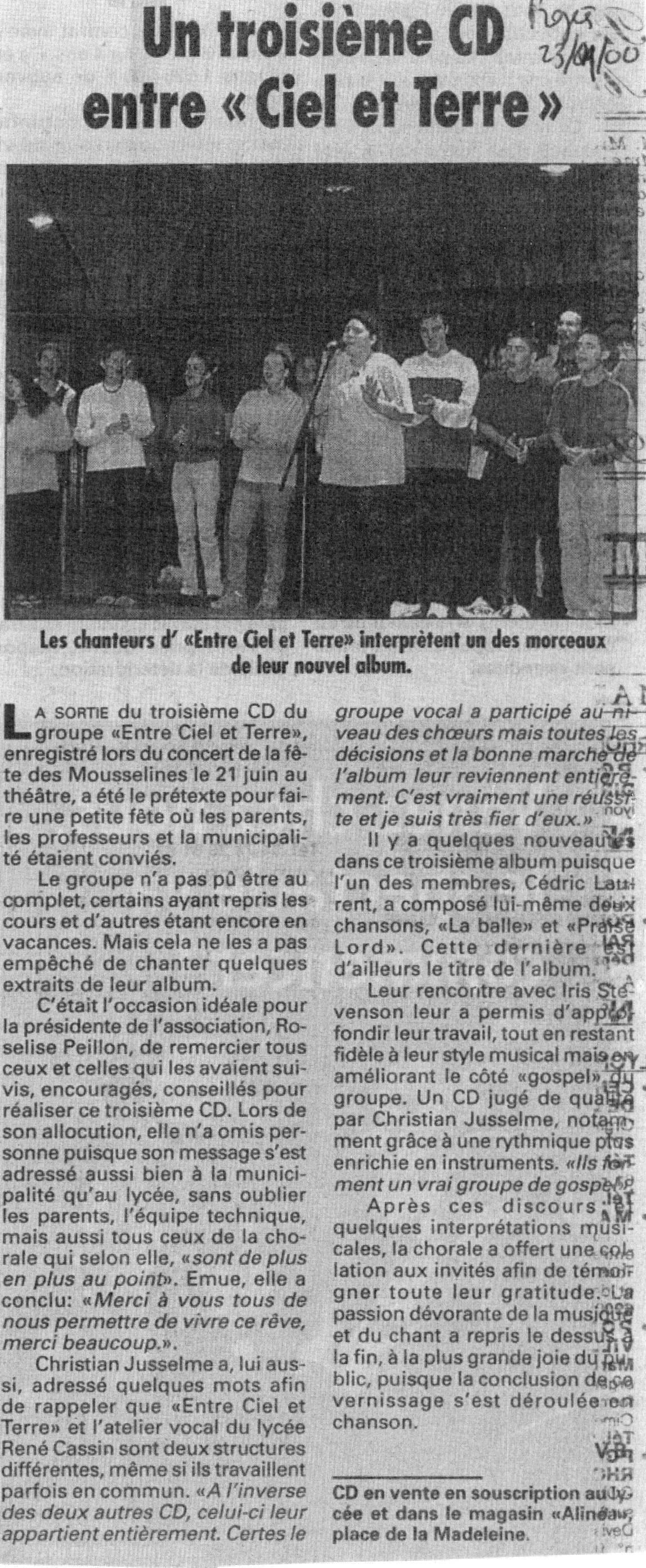 © Le Progrès   23 sept. 2000