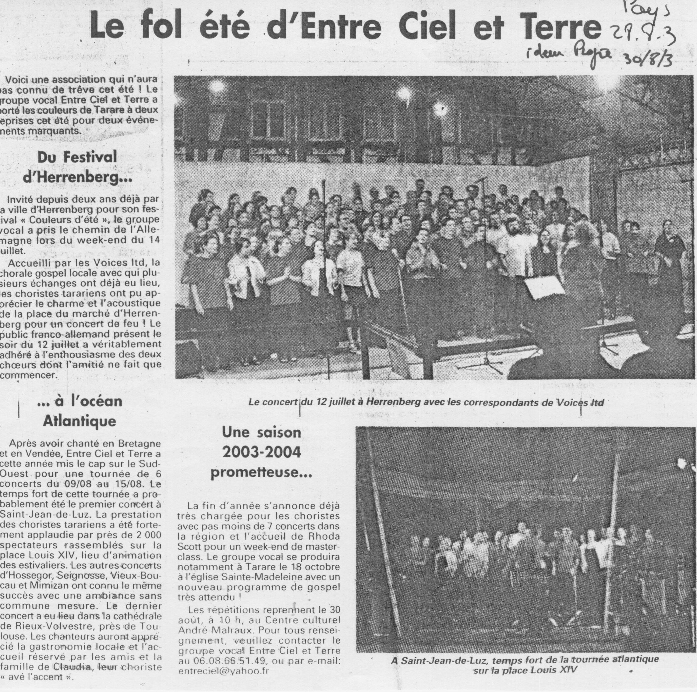 © Le Pays | 28 août 2003